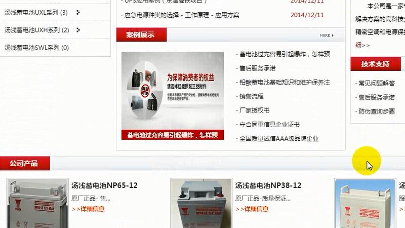 汤浅蓄电池网站文章内页质量度分析